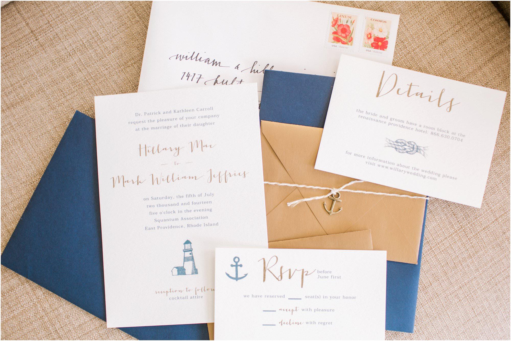 nautical squantum association wedding invitations