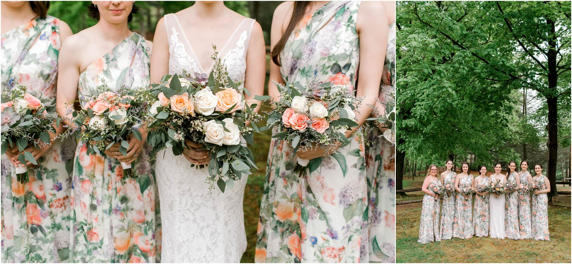 spring pavilion on crystal lake wedding floral bridesmaid dresses