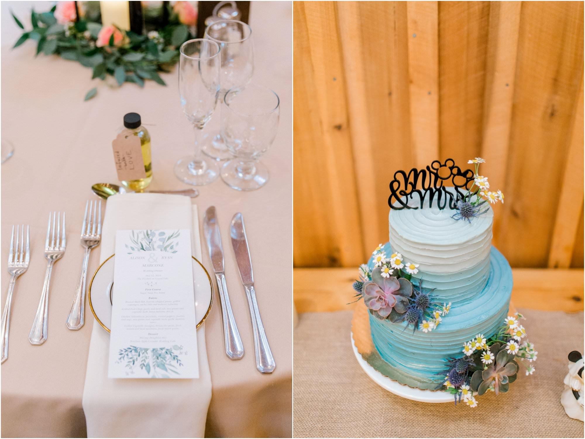 spring pavilion on crystal lake wedding disney wedding cake