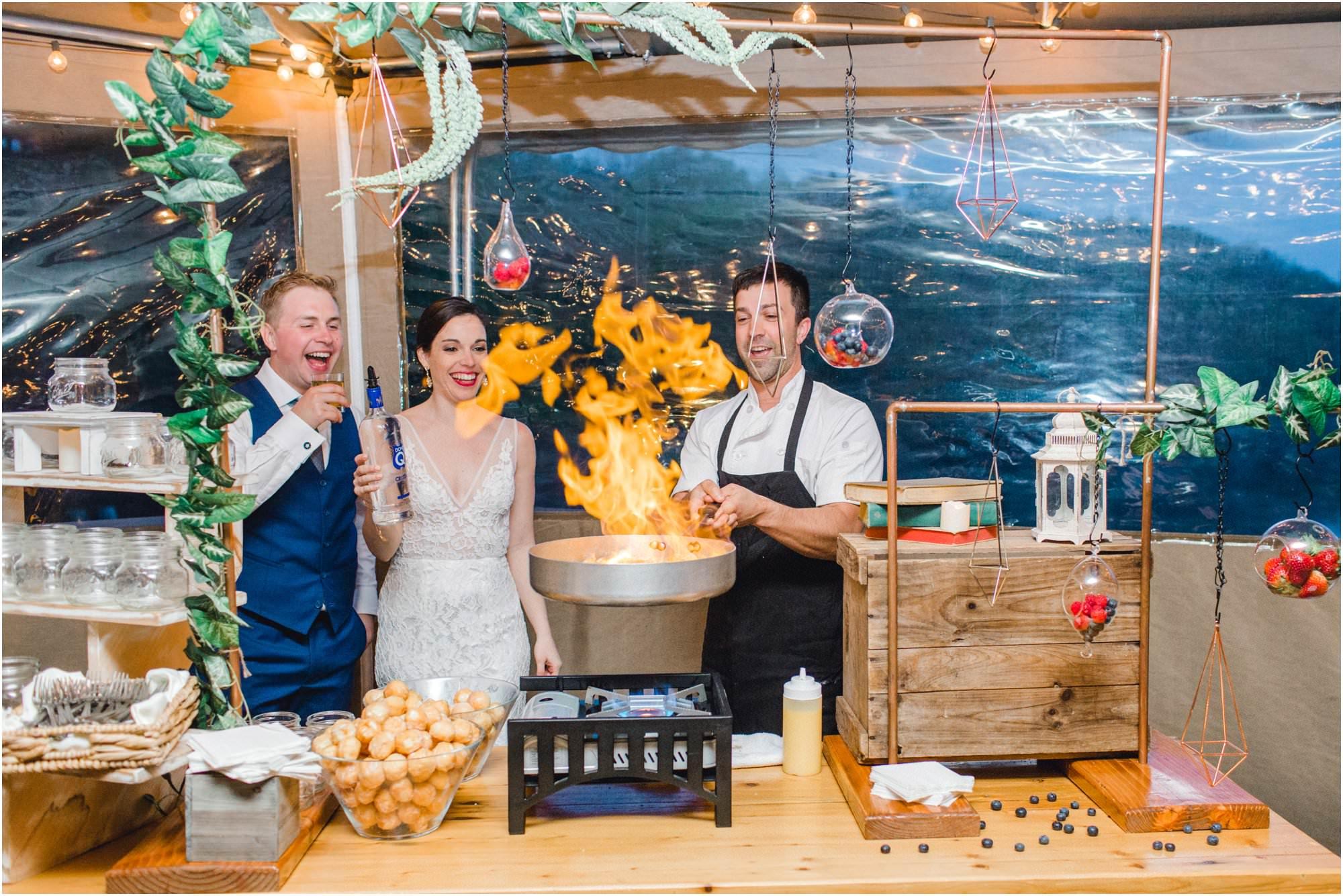 spring pavilion on crystal lake wedding flaming donuts