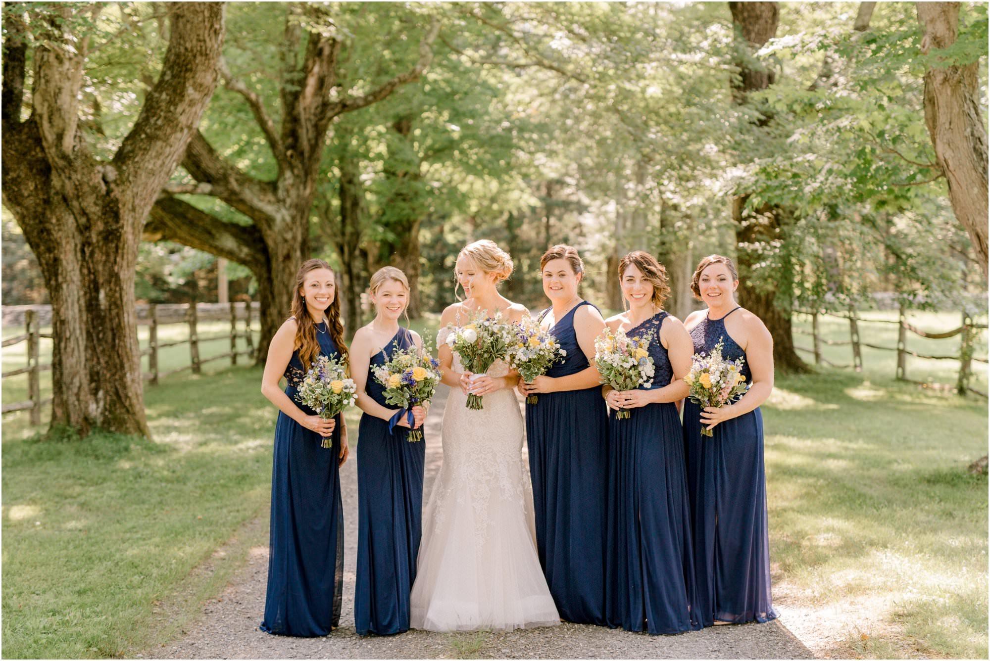 romantic summer tyrone farm wedding navy bridesmaids