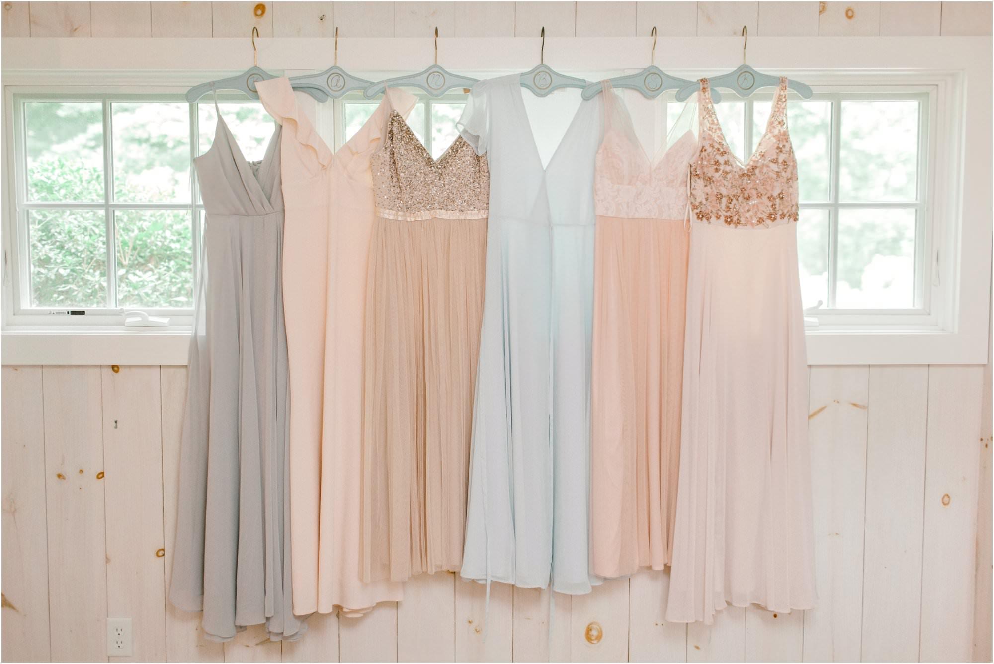 vintage summer lace factory wedding pastel bridesmaid dresses
