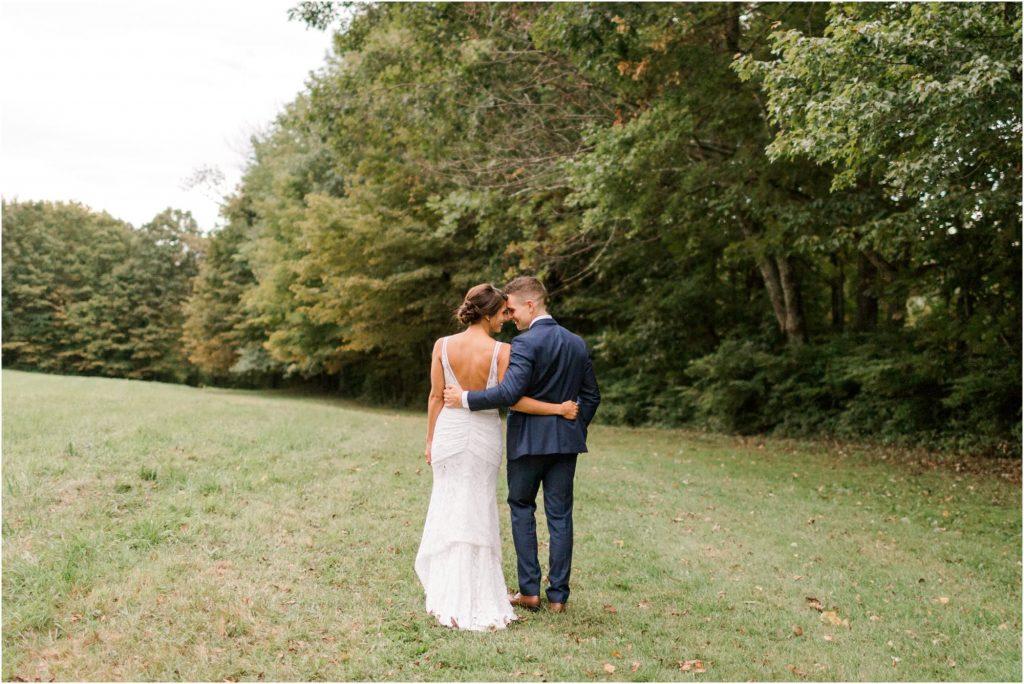 neutral backyard wedding