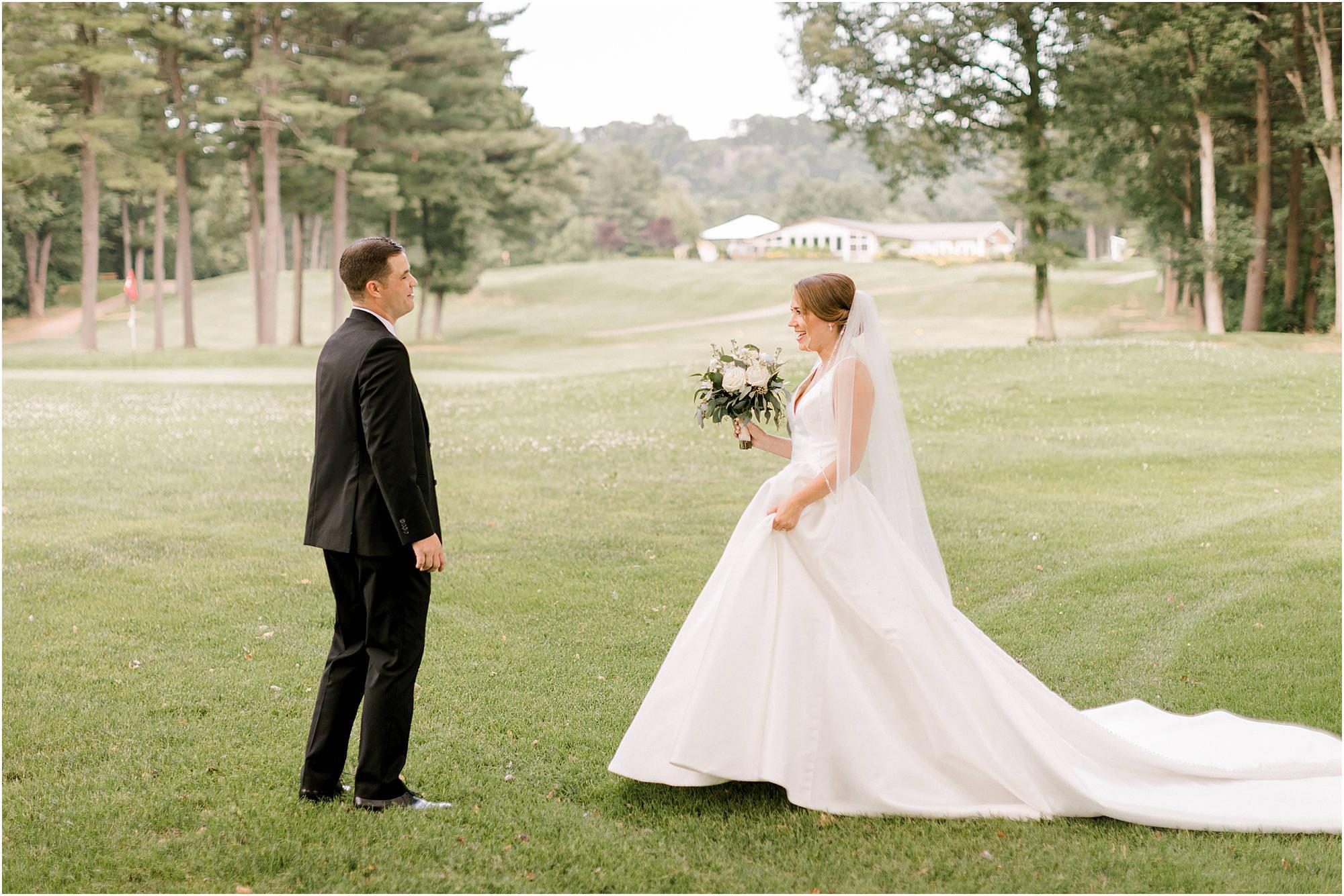 classic hawk's landing wedding first look wedding photos